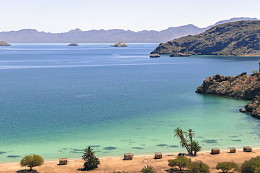 Scenic view of beach and sea under clear blue sky,  Mulege,  Baja California Sur, Mexico