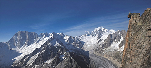Panoramic of high mountain peaks in the Alps.