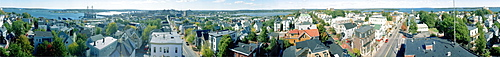 A 360 degree view from the Portland Observatory in Portland, Maine. Built in 1807, the Observatory offers excellent views of Portland, Casco Bay and the White Mountains of New Hampshire. This picture was made with a panoramic camera that rotates as it exposes film.