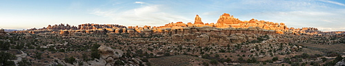 Panorama of sandstone hoodoos within the Chessler Park and Joint Trail hike, Needles District, Canyonlands National Park, Monticello, Utah.