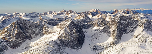 Panorama of the Weminuche Wilderness Mountains from the air including several fourteeners called Windom and Sunlight Peak, Mount Eolus and the Wilson's by Telluride, San Juan National Forest, Durango, Colorado.