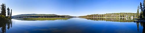 Panorama of Lac Le Jeune Lake, Kamloops, BC, Canada.