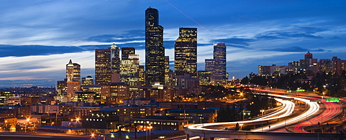 Dusk over the traffic and skyscrapers of downtown Seattle, Washington, United States of America