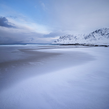Snow Covered Skagsanden Beach In Flakstad, Lofoten Islands, Norway