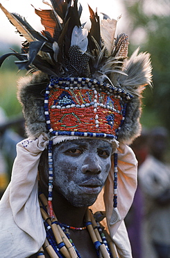 A good, benevolent witch doctor,or bwanavide, dressed for a healilng ceremony in the village of Kikondja in eastern Congo.