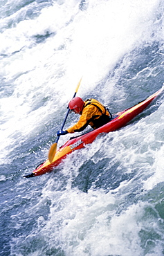 Every year, hardcore whitewater fanatics migrate to the riverside community of Kingfisher, British Columbia to play in the Shuswap River on one of the finest natural standing waves the province has to offer. This collection of images were taken over a hot July weekend during the 2003 Annual Kayak Rodeo competition.