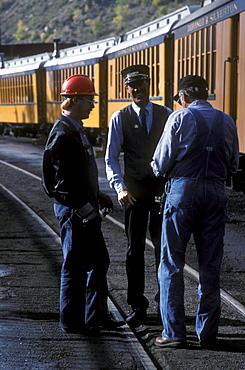 Conductors of the Durango & Silverton Narrow Gauge Railroad in main yard in Durango, Colorado