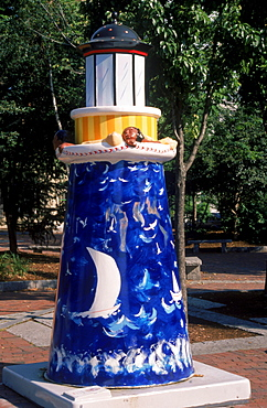 Painted lighthouse sculpture in downtown Portland, Maine