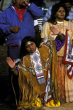 An Apache girl participates in her Sunrise Ceremony, a ritual which ushers young Apache girls into womanhood, Whiteriver, Arizona, on the Fort Apache Indian Reservation
