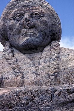 Vandalized Indian monument on an Indian Reservation, South Dakota