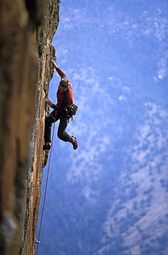 Tommy Caldwell rock climbing at The Monastery near Estes Park, Colorado. Tommy Caldwell is one of the worlds leading rock climbers.