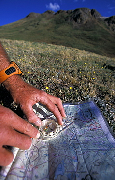 Patrick Harper uses a compass and a topographic map to navigate through the mountains above Ouray, Colorado. Harper, a member of Team Montrail, was practicing his navigation skills for The Primal Quest Adventure Race. Harper trained in the mountains above Ouray, Colorado for a month before the event to get better acclimatized to the high elevation.
