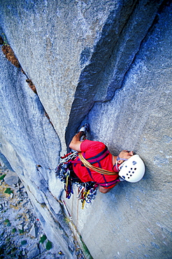Bob Porter rock climbing, aid climbing, big wall climbing up the Zodiac 5.13+ on El Capitan in Yosemite National Park, California. The team spent three days and two nights on the big wall.