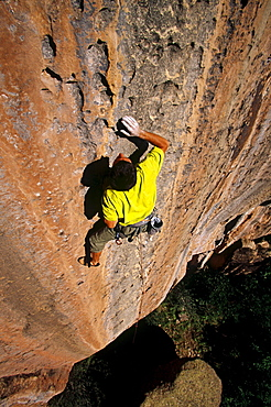 Josh Gross rock climbing 'And Justice for All' rated 5.12, in Mill Creek, La Sal mountains, Utah