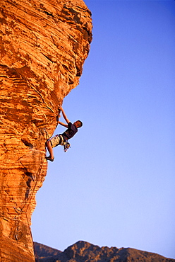 Scott Cory rock climbs in the Kraft Rocks in Red Rock Canyon State Park, just outside of Las Vegas, Nevada.