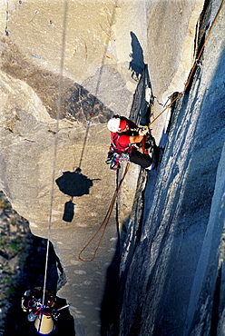 Bob Porter aid climbing up Zodiac, a 16 pitch 5.11 A3+, route on El Capitan in Yosemite National Park, California.