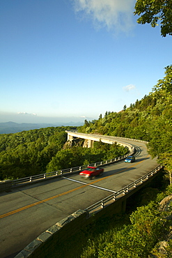The Linn Cove Viaduct carries the Blue Ridge Parkway along the flanks of Grandfather Mountain near Linville, NC.