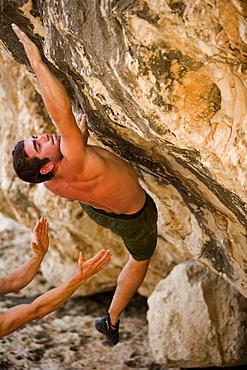 Brett Lowell bouldering in Mallorca, Spain.