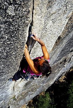 Dana Ikeda leading a steep crack climb struggles trying to clip protection in Yosemtie national Park Califorinia.