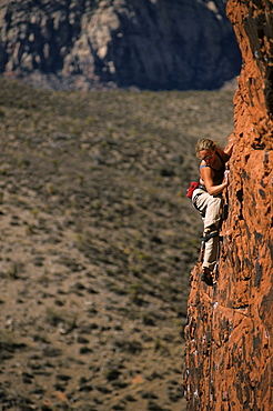 Rock climber ascends The Runaway, 5.10b. Wall of Confusion, Red Rocks, Nevada, USA