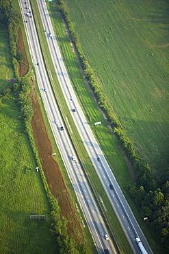 Aerial view of interstate highway near Hendersonville, NC.