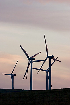 Windmills used to generate electrical power at Cowley Ridge in southern Alberta, Canada. (silhouette)