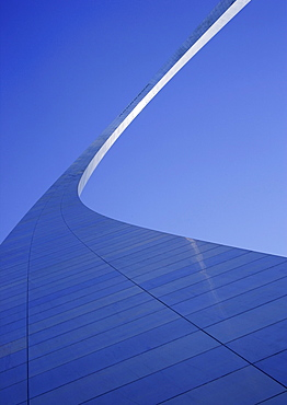 Upward view of The Gateway Arch in St. Louis, Missouri.