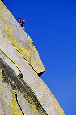 Man climbing at The Needles in the Southern Sierra Nevada mountains of California.