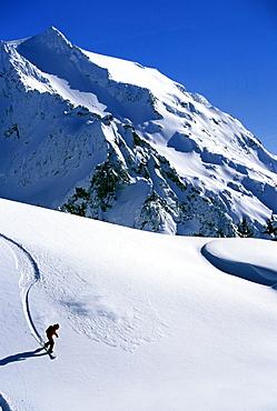 Backcountry snowboarding near Mt. Baker, Washington.