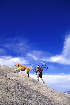 A man carrying his mountain bike up a hill with his dog in Lake Tahoe, California.