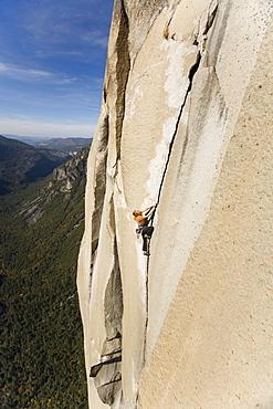 Female free climbing
