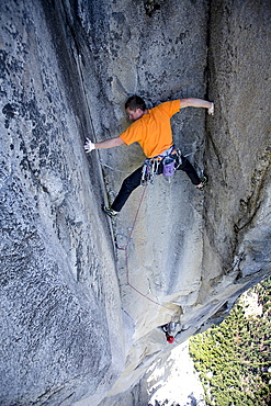 Two men free climb on El Capitan.