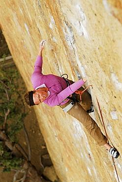 Rock climbing in Smith Rock State Park, Oregon, USA