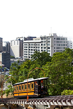 LOS ANGELES, CALIFORNIA, USA. A small rail car that carries people up a steep incline in a downtown center.
