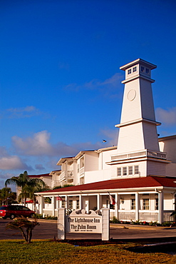 ROCKPORT, TEXAS, USA. A hotel that looks like a lighthouse during the middle of the afternoon.