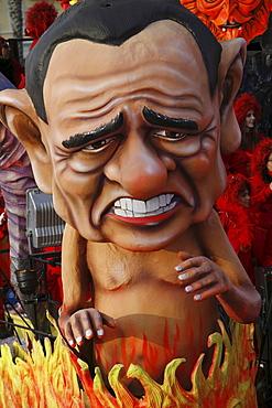 A float representing the Italian businessman and politician Silvio Berlusconi during the Carnival of Viareggio.