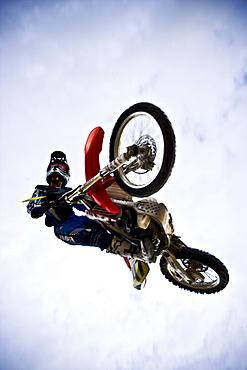 A motocross biker flies through the sky in Brainerd, Minnesota.