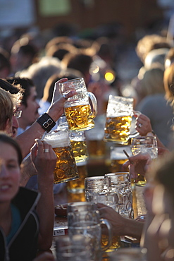 A crowded table of beer drinkers lift their steins to toast at Oktoberfest, Munich, Bavaria, Germany.