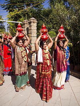 Ritual parade at a wedding in Ahmedabad, Gujarat, India.