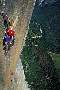 Chris McNamara climbing The Shield on El Capitan in Yosemite National Park, California.
