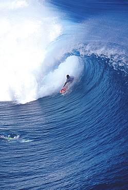 Pancho Sullivan, in the tube, photographed from helicopter, Teahupoo, Tahiti