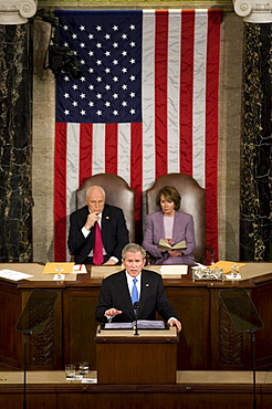 With Vice President Dick Cheney, seated left, and Speaker of the House Nancy Pelosi, D-Calil, seated right, presiding over the speech, President of the United States George W. Bush gives his final State of the Union address to Congress at the Capitol Building on January 28, 2008 in Washington, D.C.