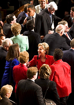 Senator and Presidential Candidate Hilary Clinton greets audience members after President of the United States George W. Bush gave his final State of the Union address to Congress at the Capitol Building on January 28, 2008 in Washington, D.C.