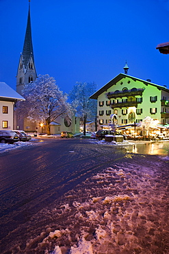 Nighttime view of the village of Mayrhofen, Austria.