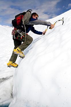 Ice climber traverses across Matanuska Glacier in Alaska.