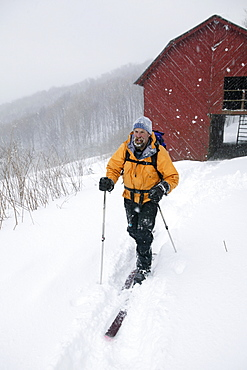 Jack Igelman explores on his telemark skis some of the winter backcountry in the high country north of Asheville, NC