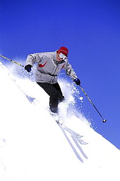 Man skiing at Snowbird, Utah
