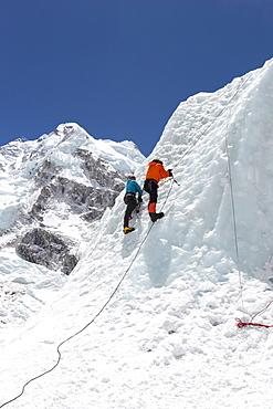 Mountaineers climbing Everest's Khumbu Icefall
