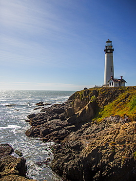 The Pigeon Point Lighthouse near Pescadero, California on a sunny day, Pescadero, California, USA