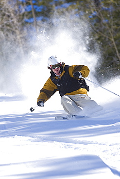 Pat Sewell skiing in Aspen, Colorado